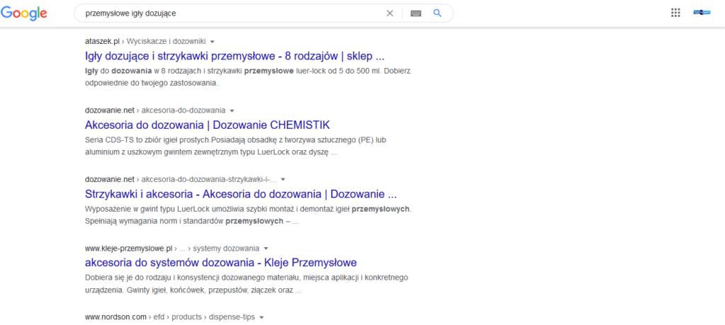 """Screen pokazujący wyniki wyszukiwania dla frazy """"przemysłowe igły dozujące"""" - porada strony dla copywriterów"""